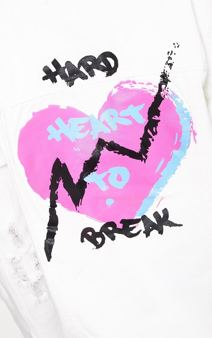 Ecru Hard Heart to Break Oversized Denim Jacket 5