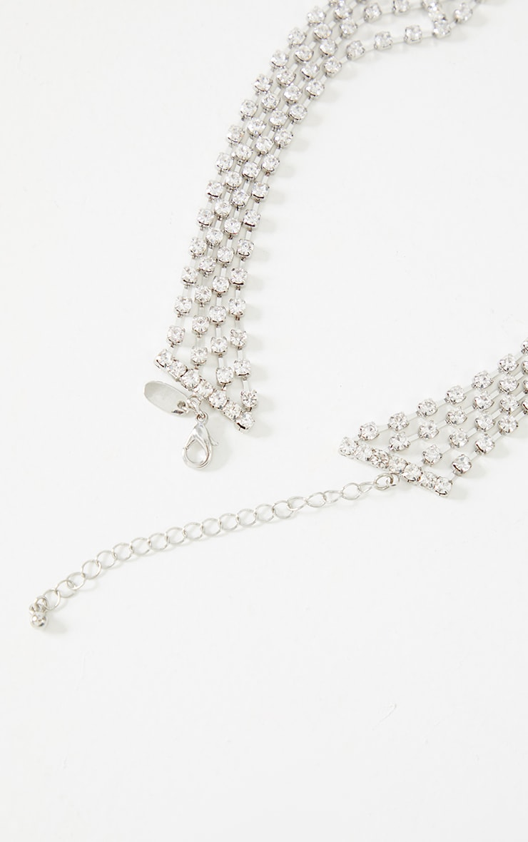 Silver Cut Out Diamante Row Choker 4