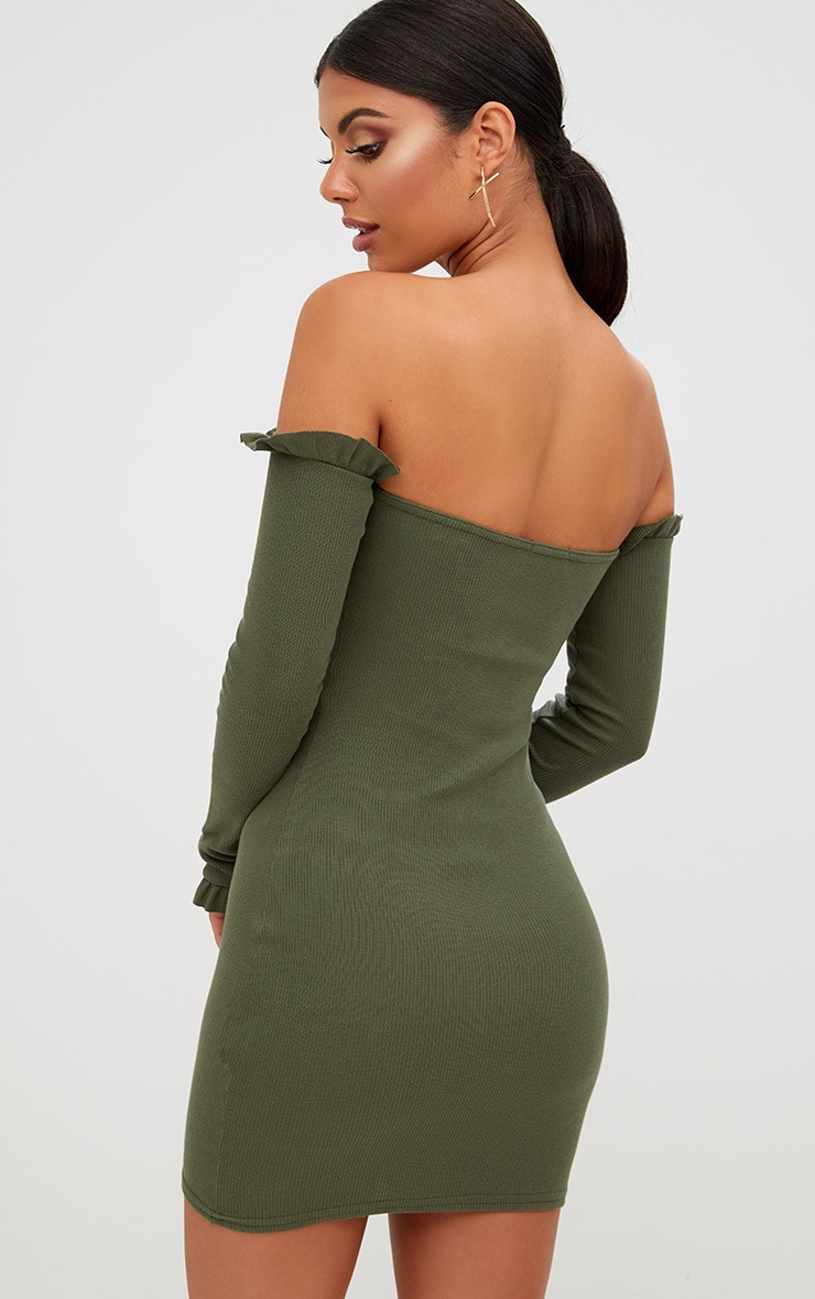 Khaki Ribbed Frill Bardot Bodycon Dress 2