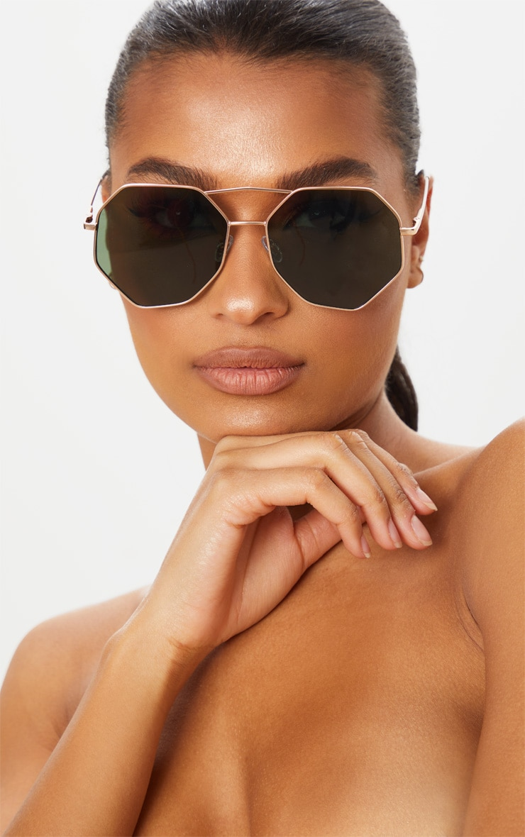 Gold Trim Hexagon Sunglasses 1