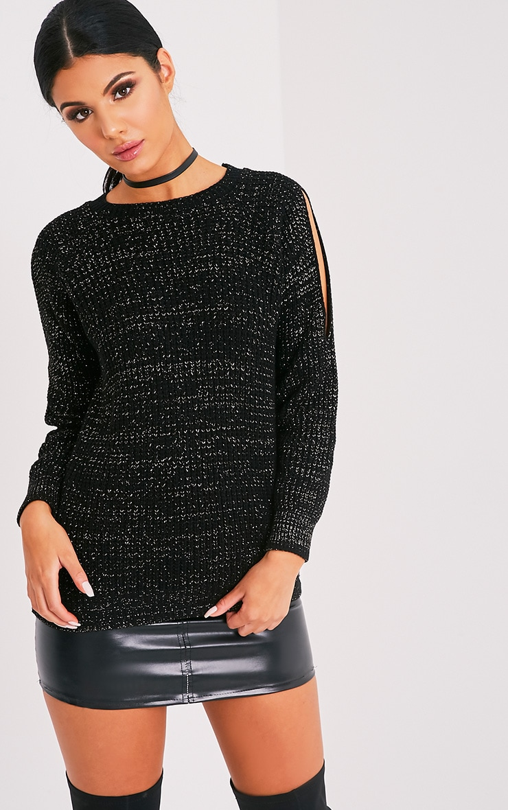 Elletra Black Glitter Cold Shoulder Jumper 1