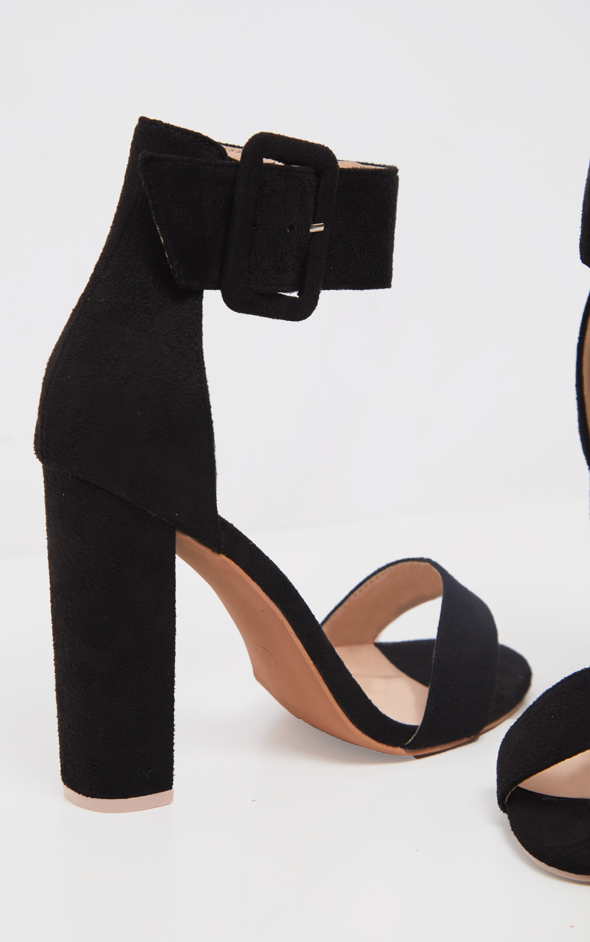 Black Ankle Buckle Block Heel  4