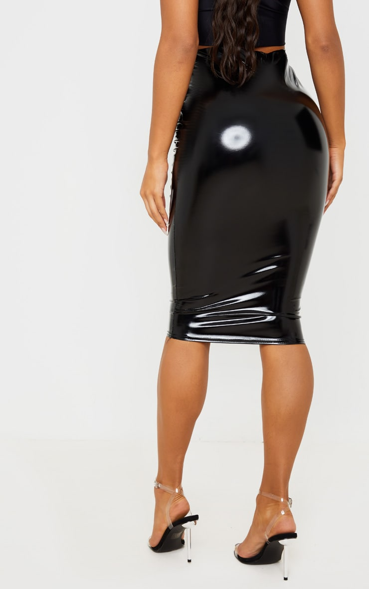 Black Vinyl Seam Detail Midi Skirt 5