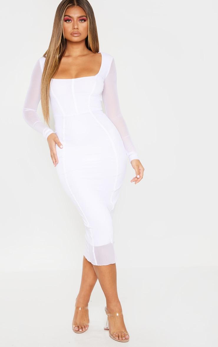 White Mesh Binding Detail Long Sleeve Midi Dress 4
