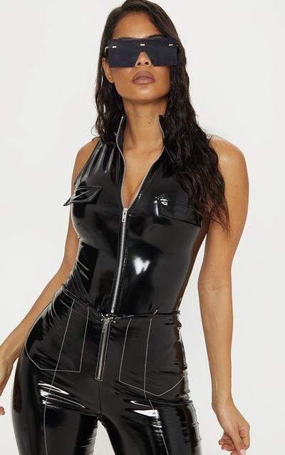 Black High Neck Sleeveless Vinyl Bodysuit