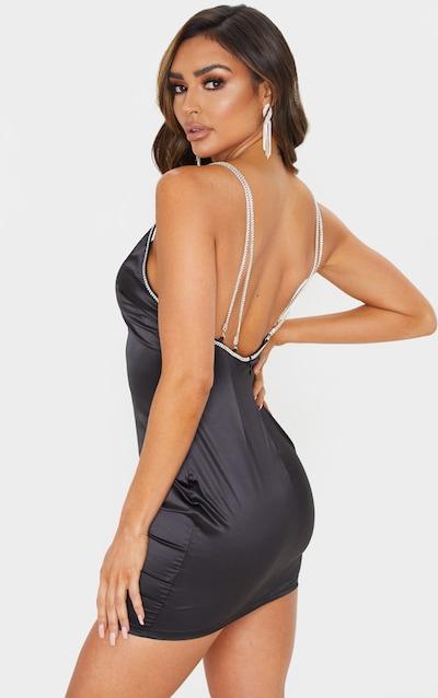 Black Diamante Strap Satin Slip Dress