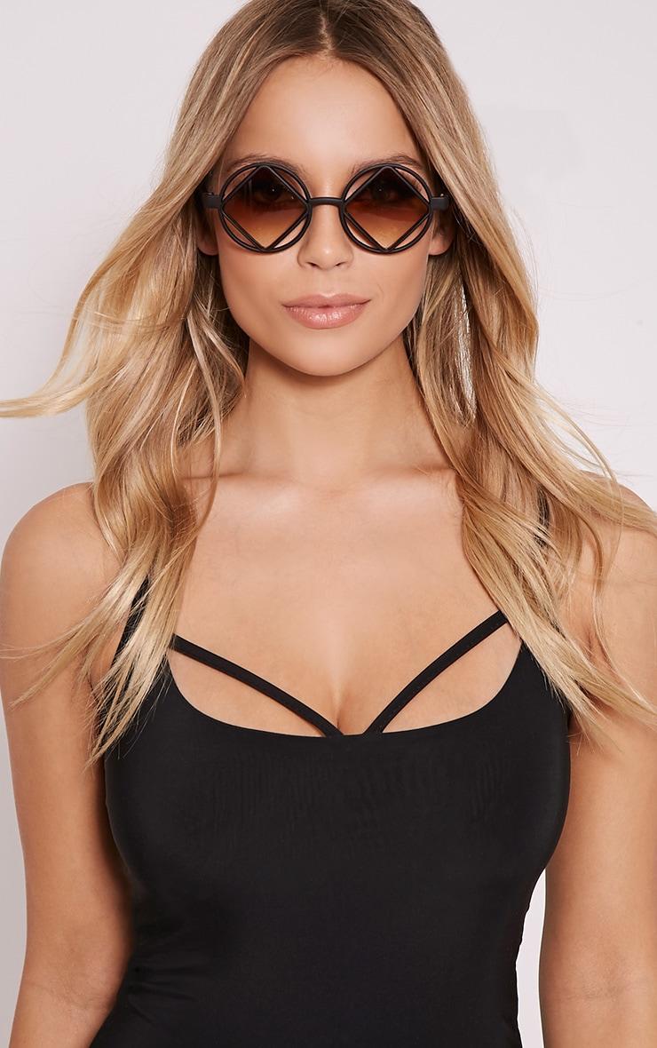 Asha Black Square Cut Out Lens Sunglasses 1