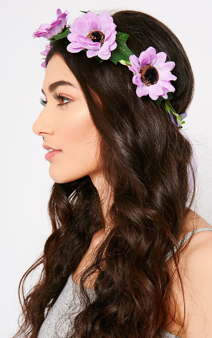Jody Purple Daisy Hair Garland 2