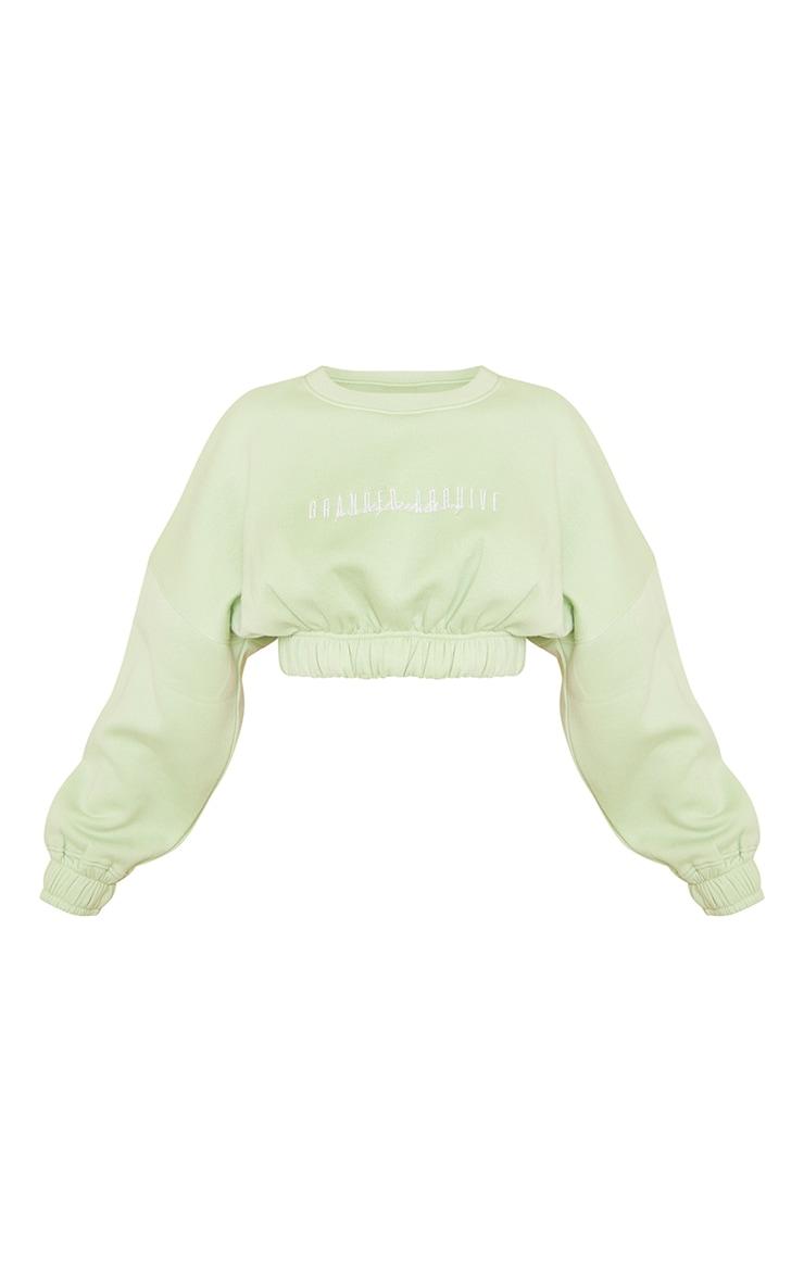 PRETTYLITTLETHING Petite Sage Green Oversized Crop Sweater 5