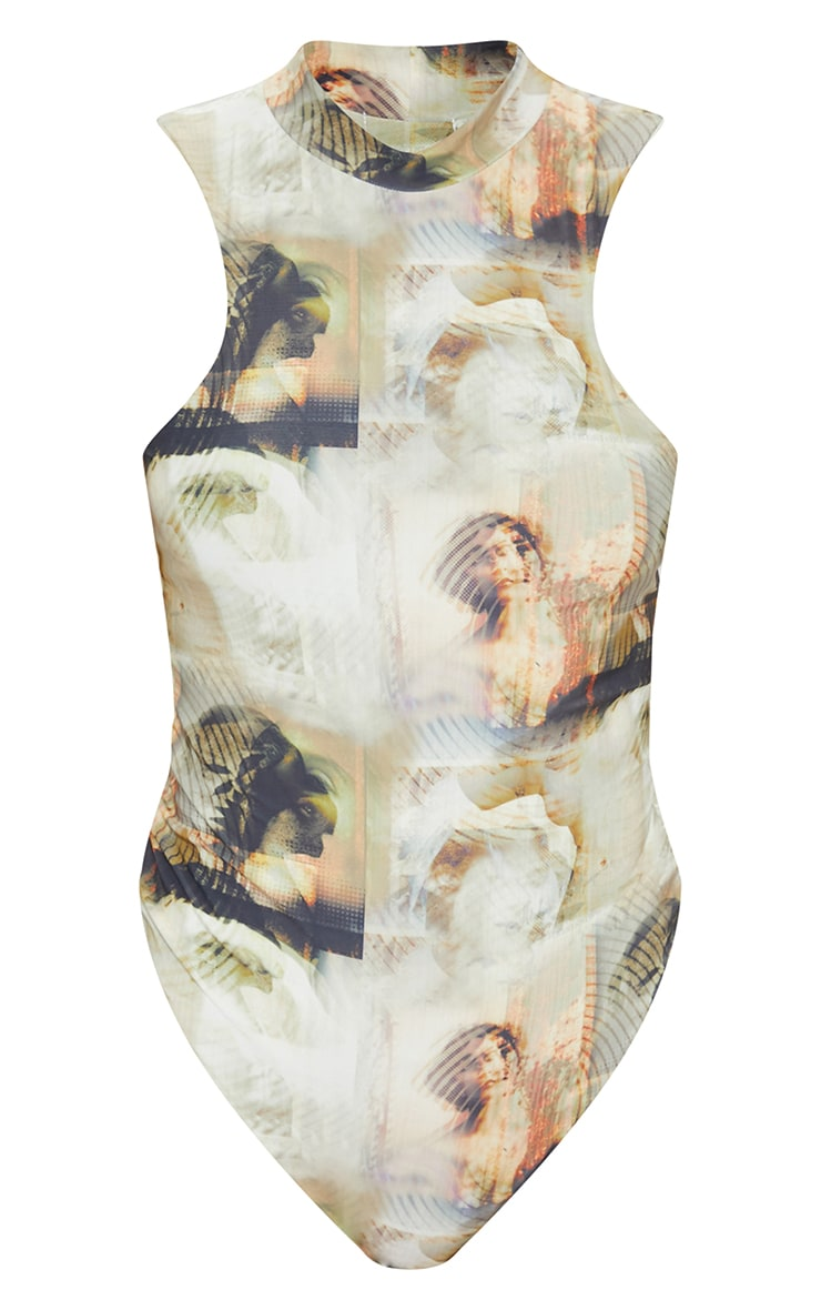 Nude Abstract Renassiance Print Slinky High Neck Extreme Racer Bodysuit 5