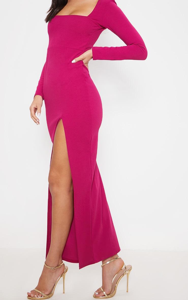 Hot Pink Square Neck Split Leg Maxi Dress 5