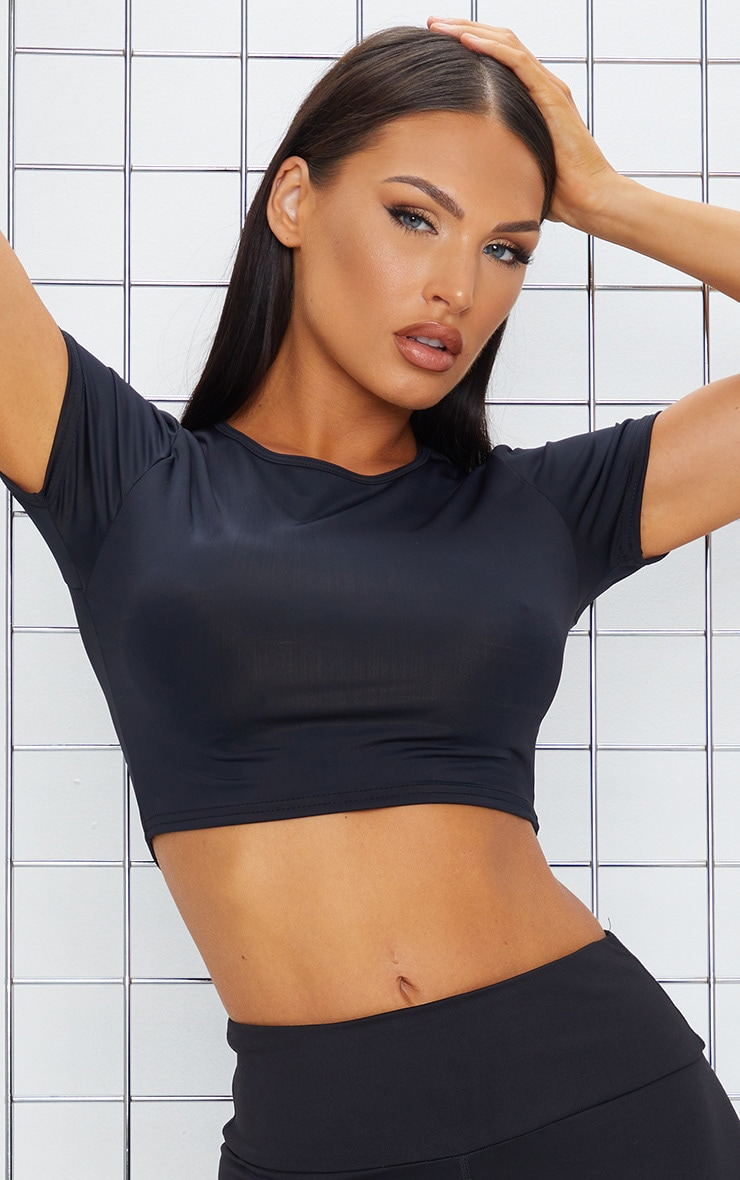 Black Basic Crop Gym T Shirt 4
