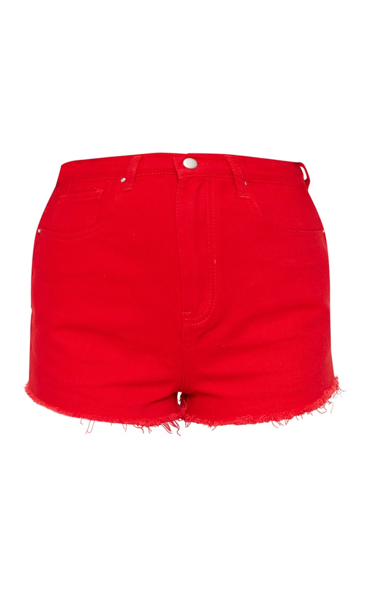 Red Shelby High Waisted Denim Short 3