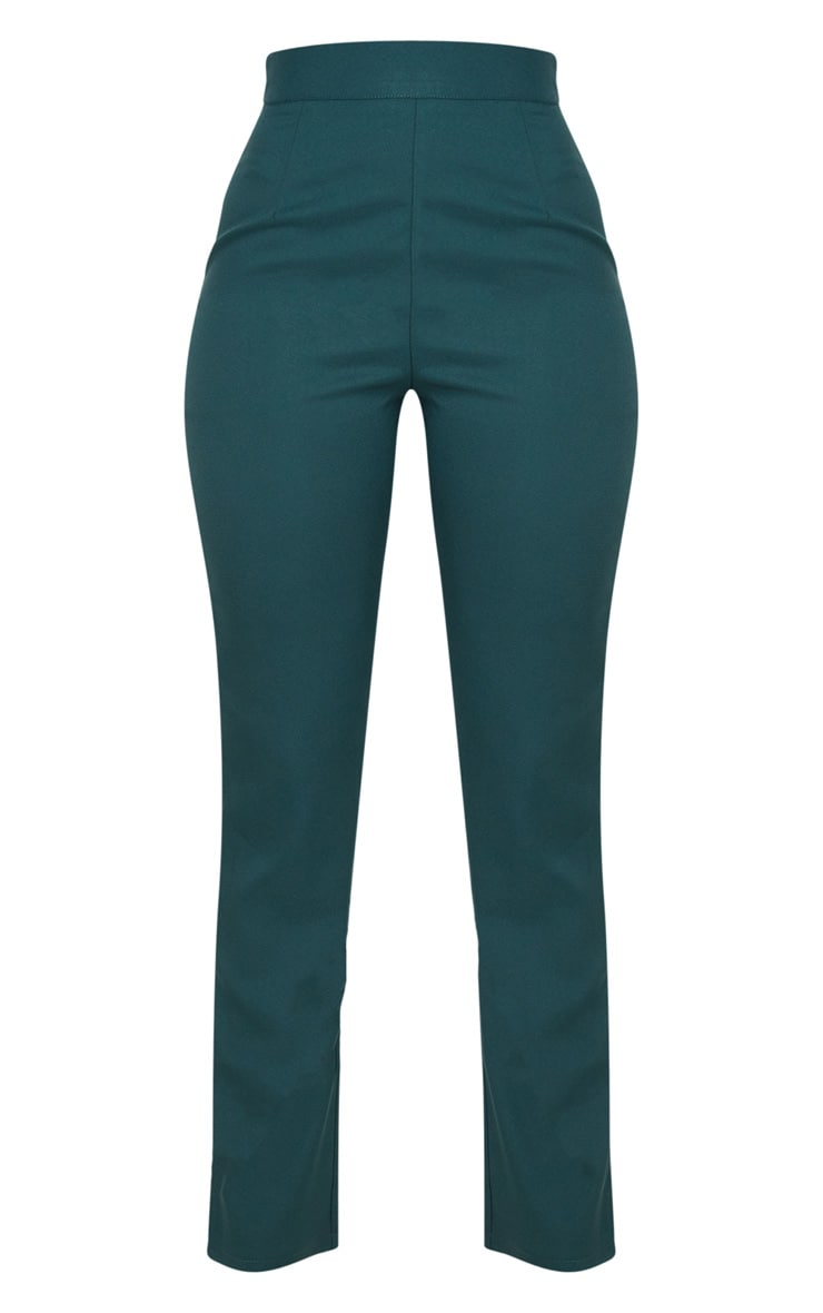 Dark Green Woven Suit Trousers 3
