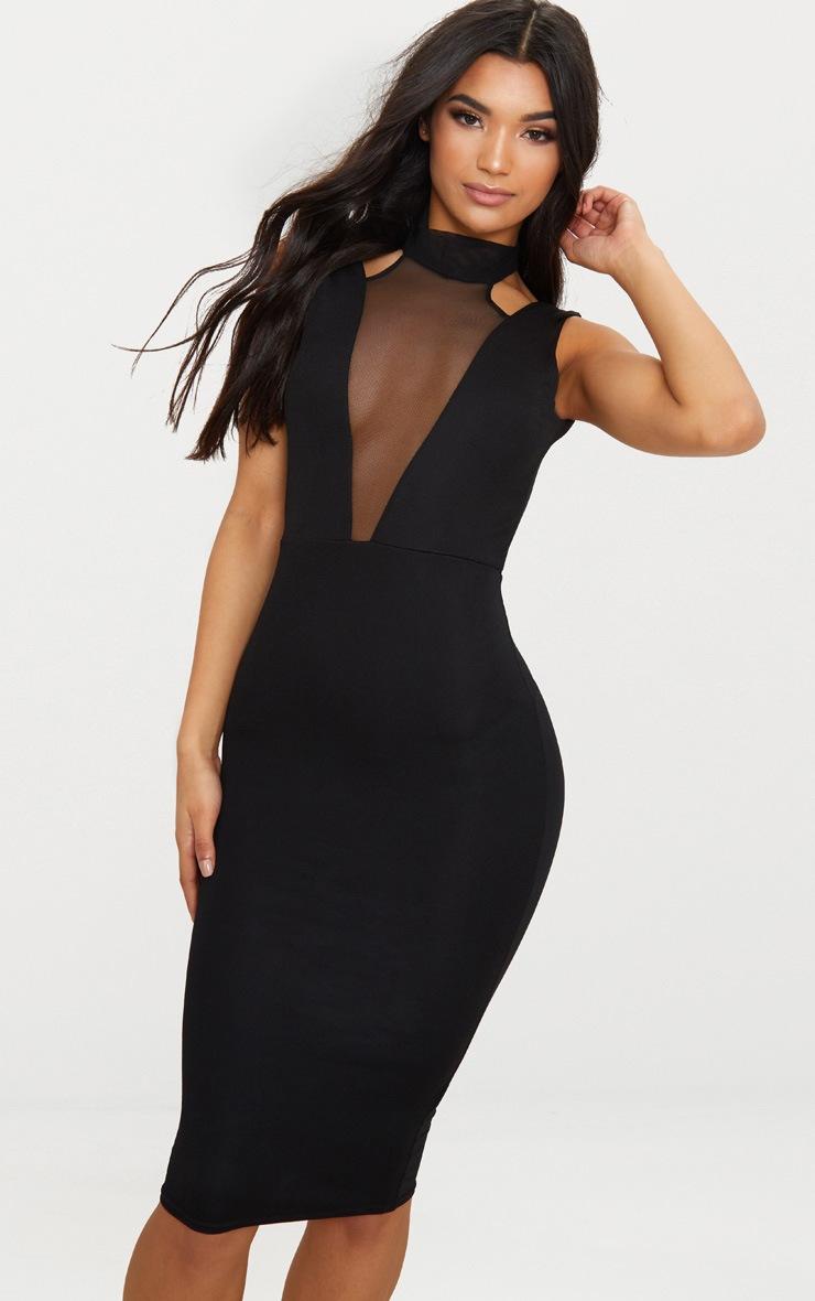 Black High Neck Mesh Panel Midi Dress 1