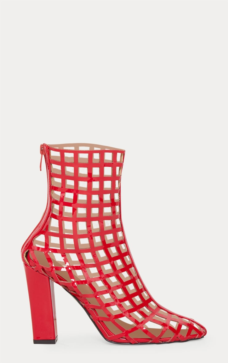 Red Caged Ankle Heeled Boot 4