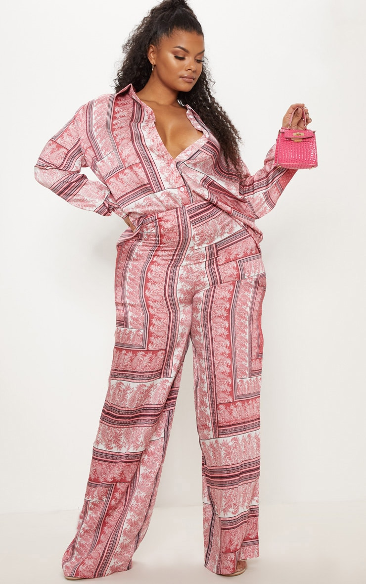 Plus Pink Scarf Print Wide Leg Trouser 1