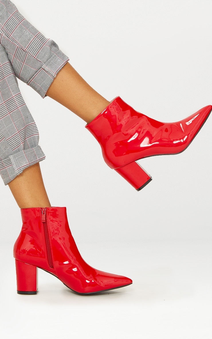 Red Point Block Heel Ankle Boot 1