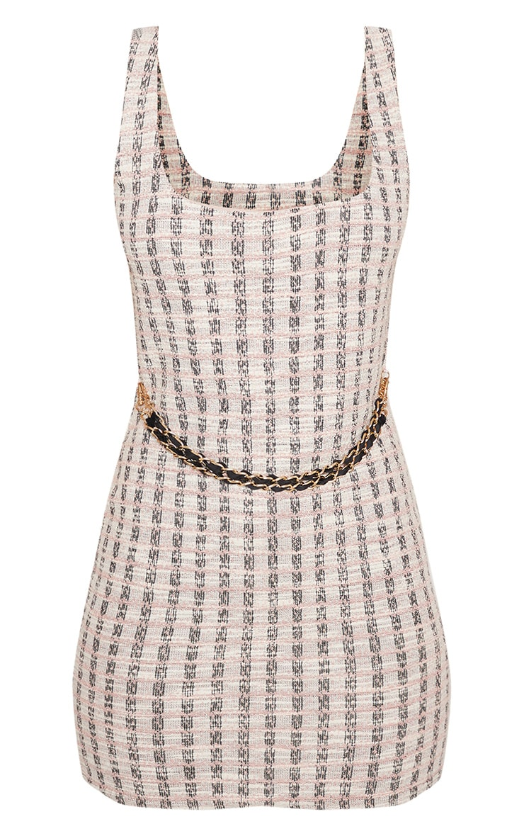 Pale Pink Chain Detail Boucle Bodycon Dress 4