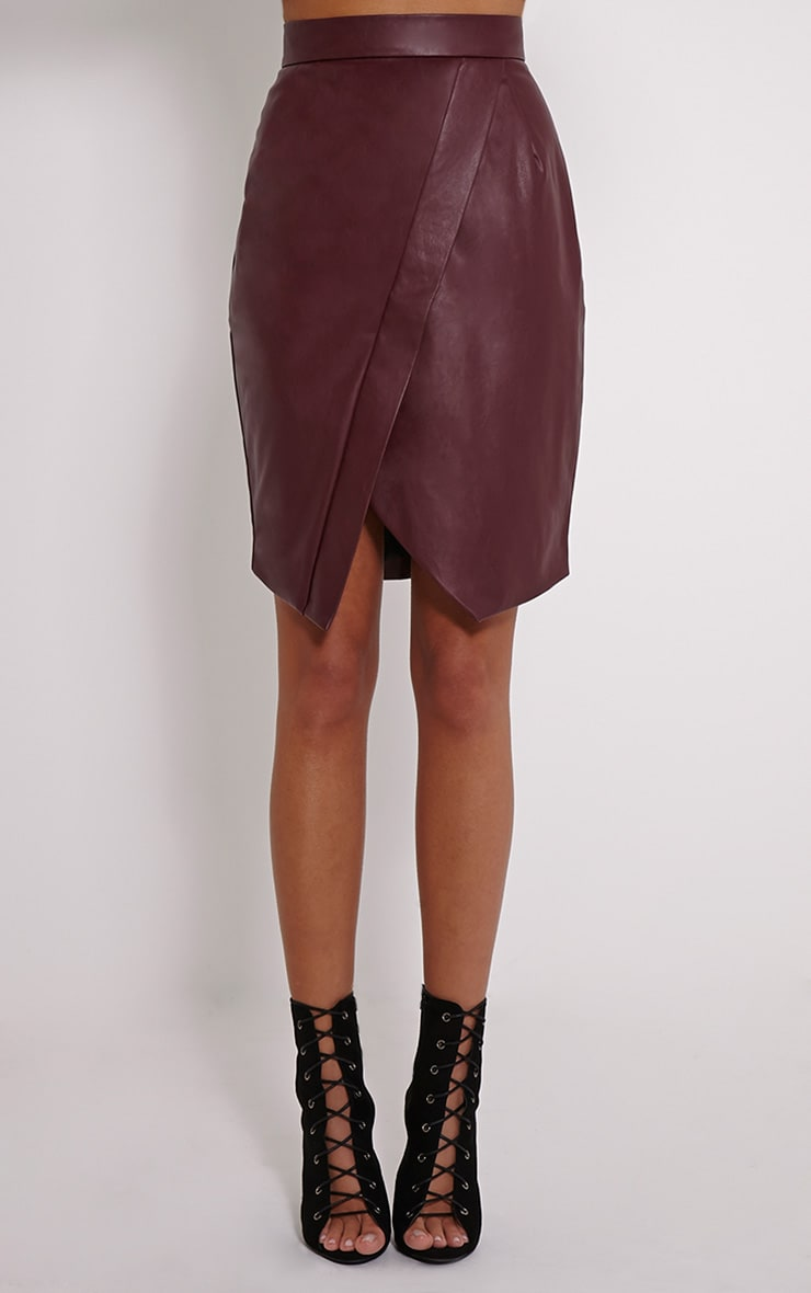 Greer Berry Faux Leather Wrap Midi Skirt 2
