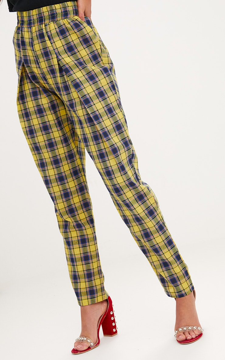 Yellow Check Front Pleat Casual Trousers 5