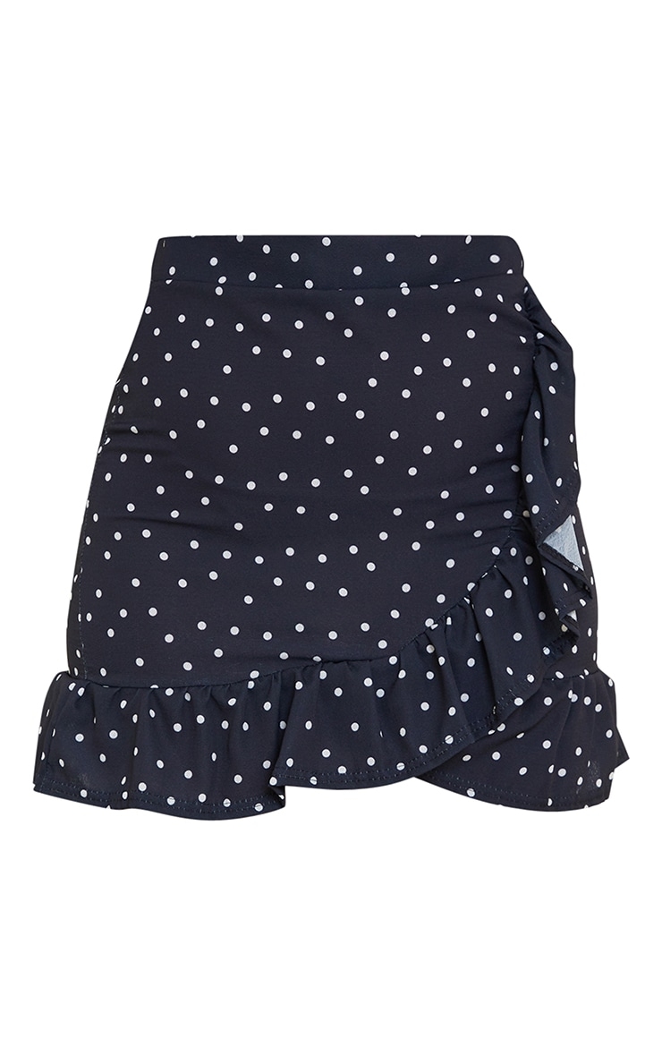 Black Spot Print Frill Hem Wrap Mini Skirt 5