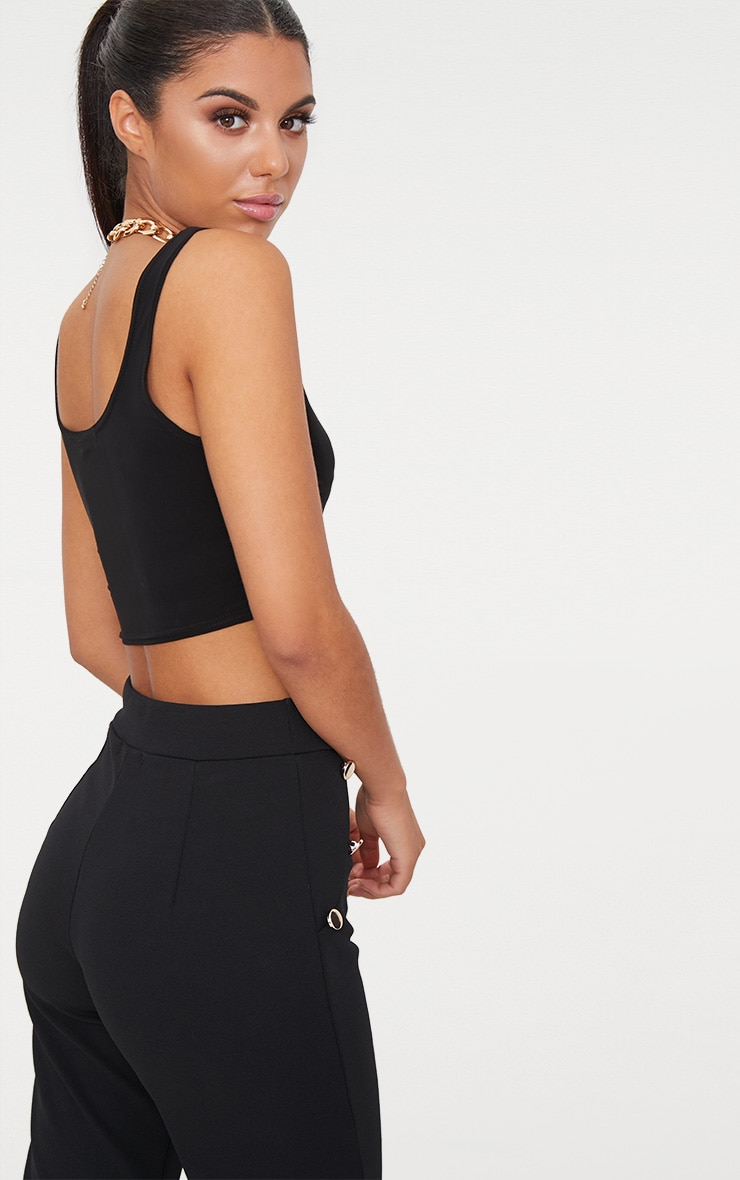 Black Scoop Neck Slinky Crop Top 2