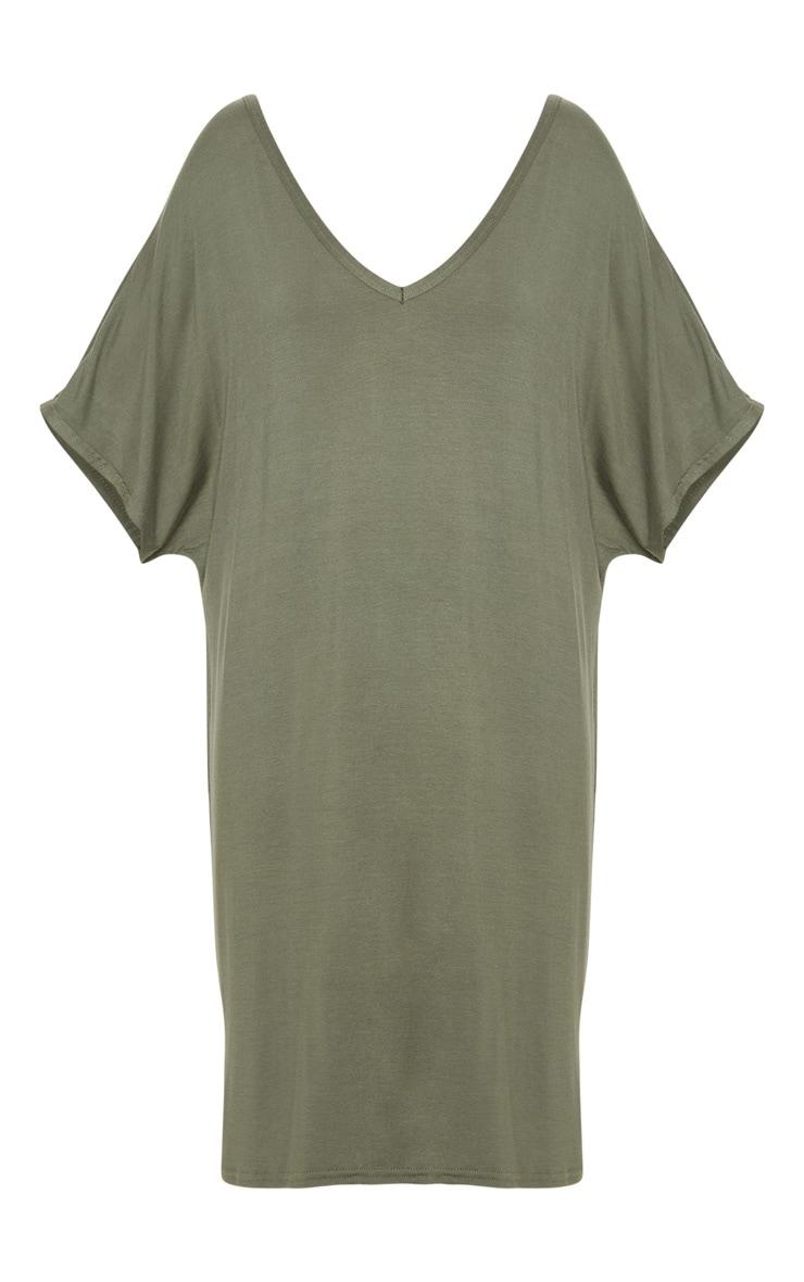 Basic Khaki V Neck T Shirt Dress 3