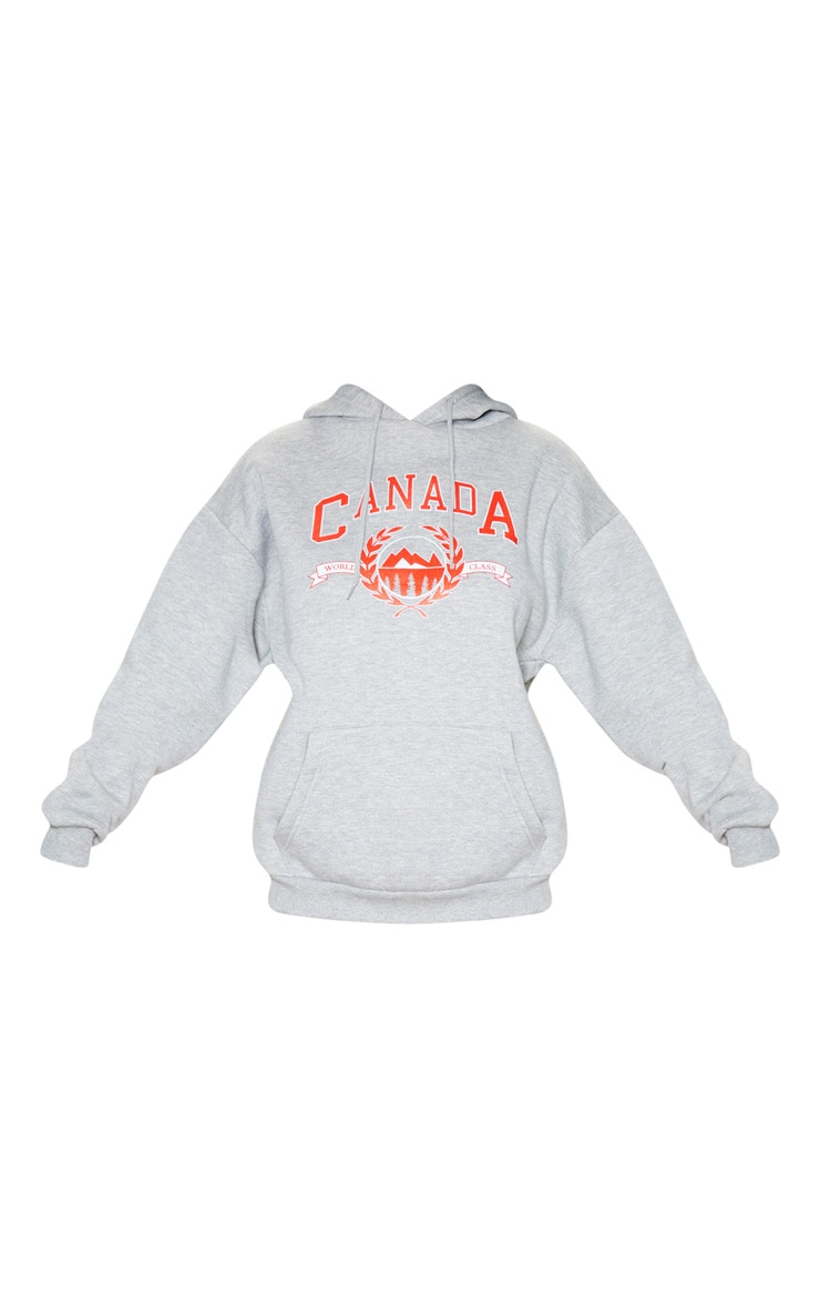 Hoodie gris à slogan Canada 3
