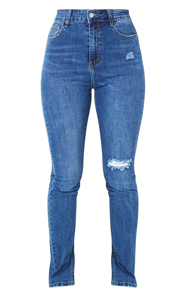 Dark Blue Wash Long Leg Split Hem Skinny Jeans 5