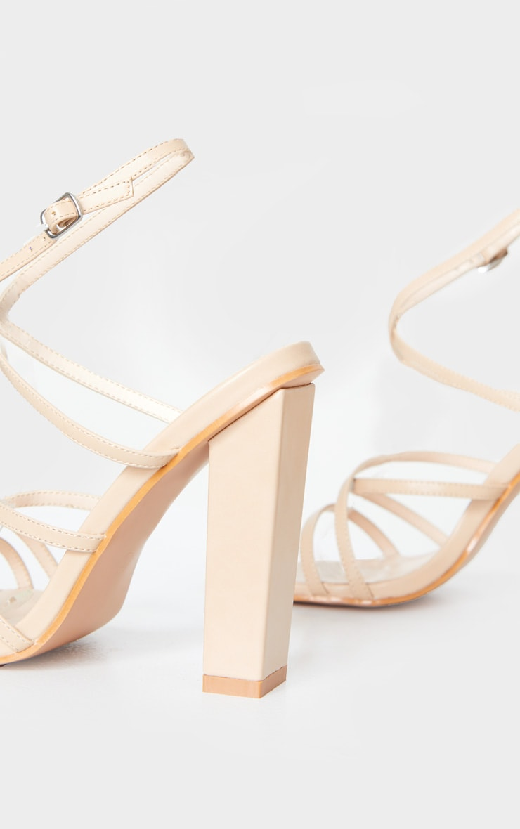 Nude Chunky Heel Strappy Square Toe Heeled Sandals 4