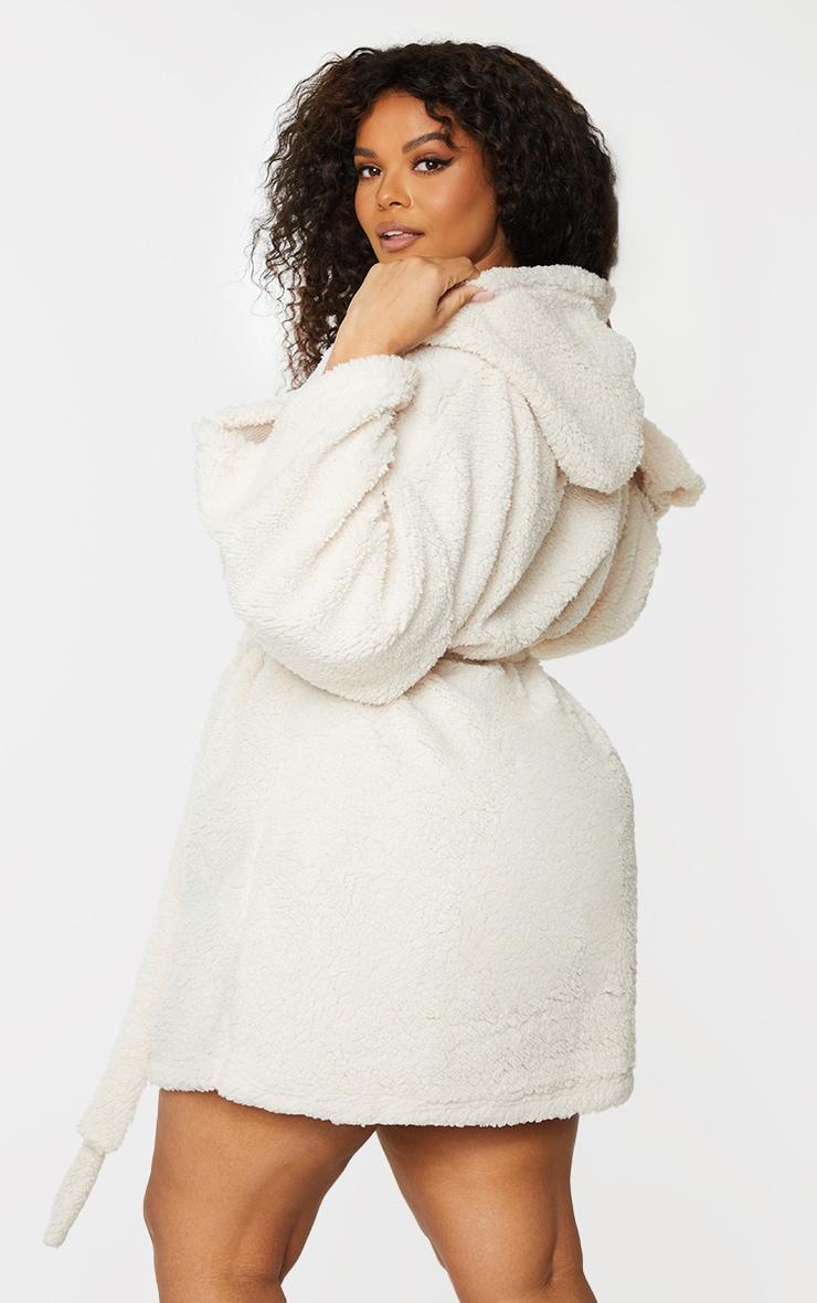 Plus Cream Borg Dressing Gown 2