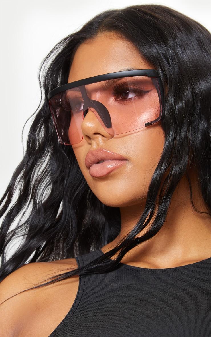 Pink Semi Frame Visor Sunglasses 1