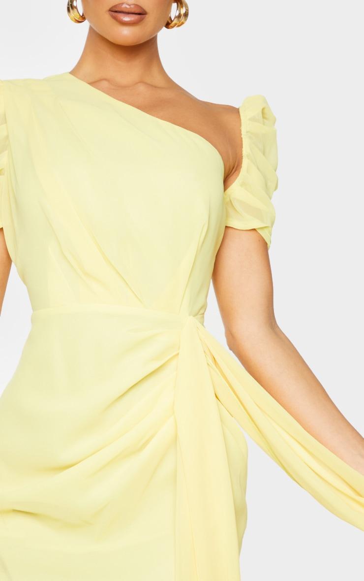 Lemon Chiffon One Shoulder Draped Bodycon Dress 4