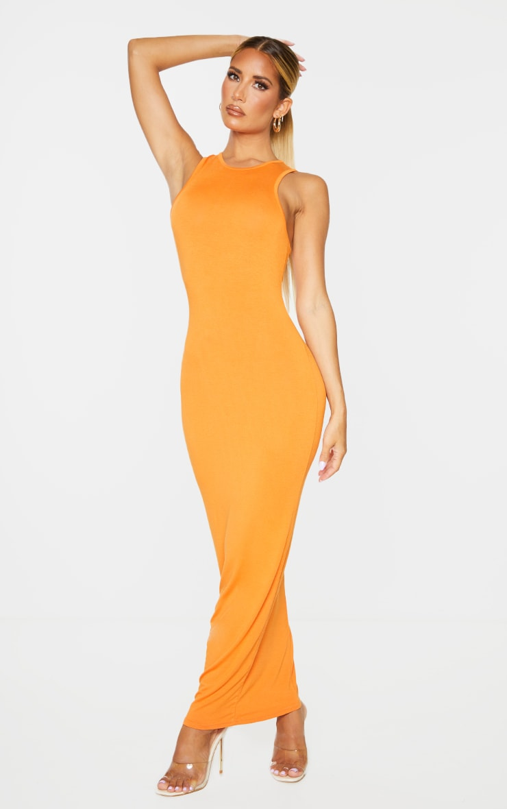Orange Racer Neck Jersey Midaxi Dress 3