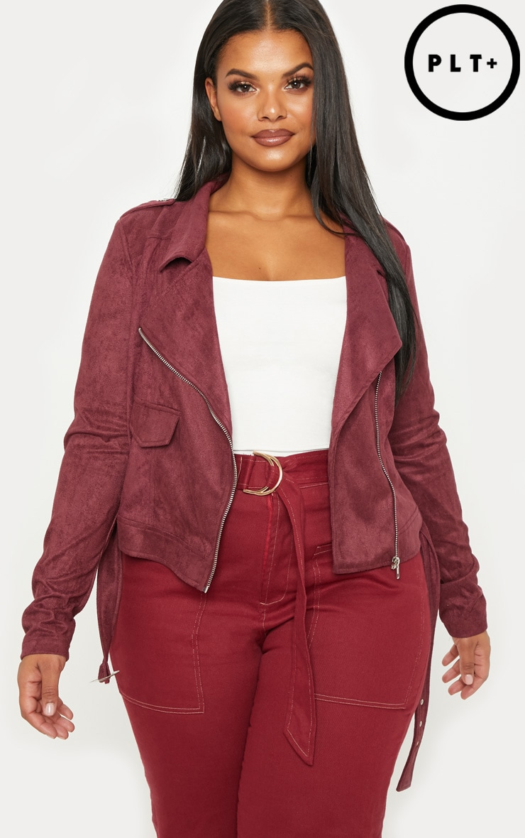 Plus Burgundy Faux Suede Biker Jacket by Prettylittlething