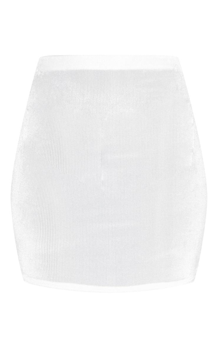 White Velvet Mini Skirt 3