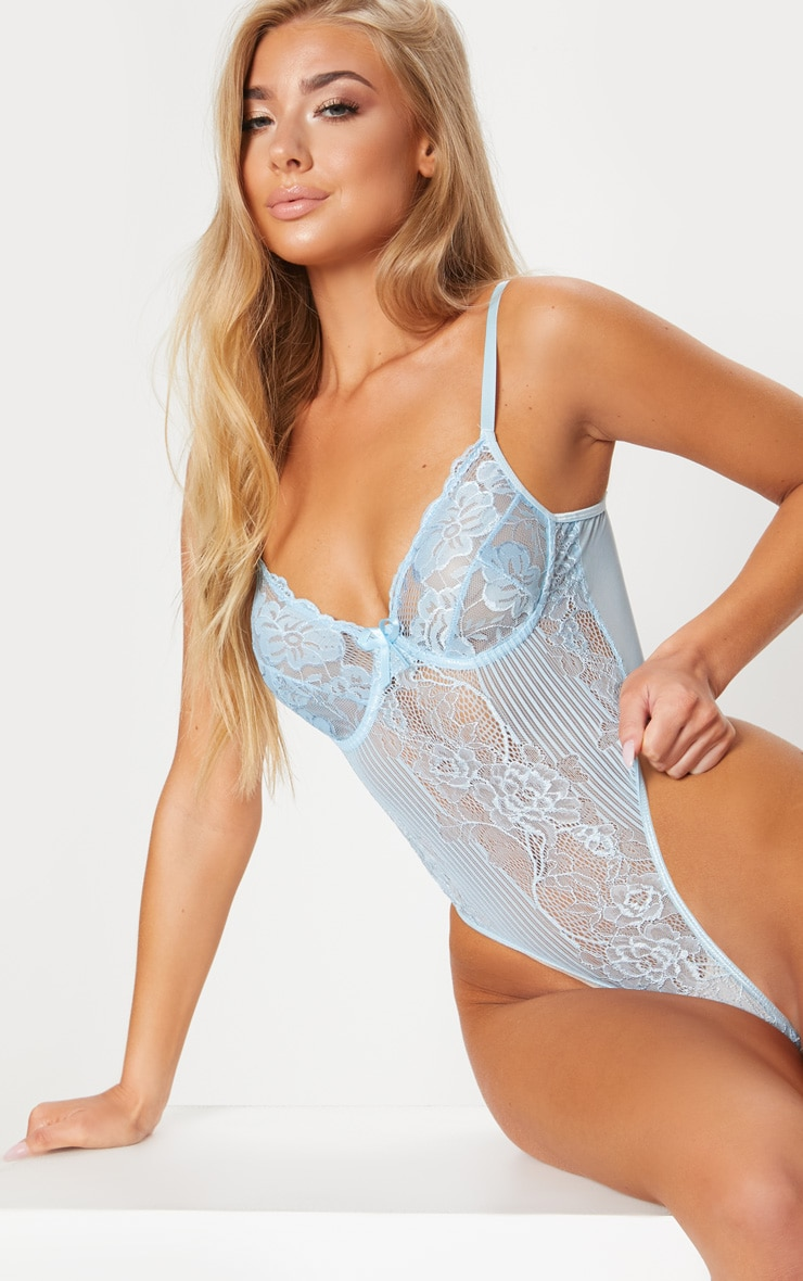 Powder Blue High Leg Lace Insert Cupped Body