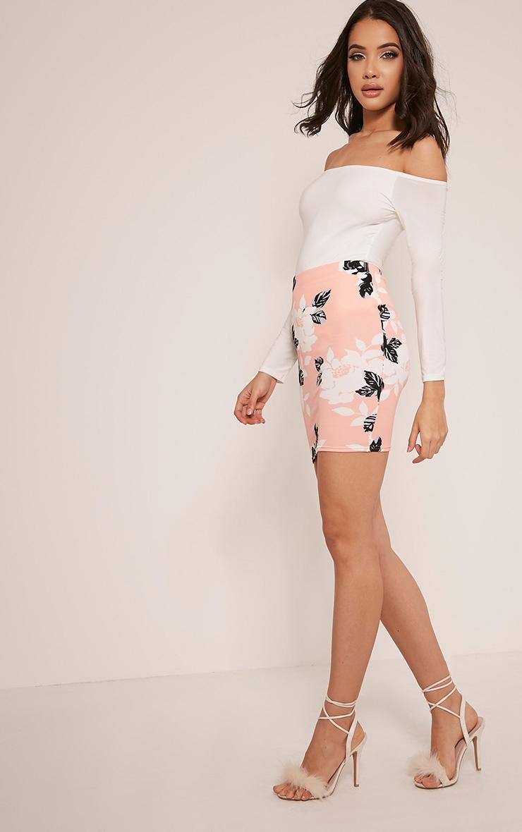 Armelle Peach Floral Print Mini Skirt 6