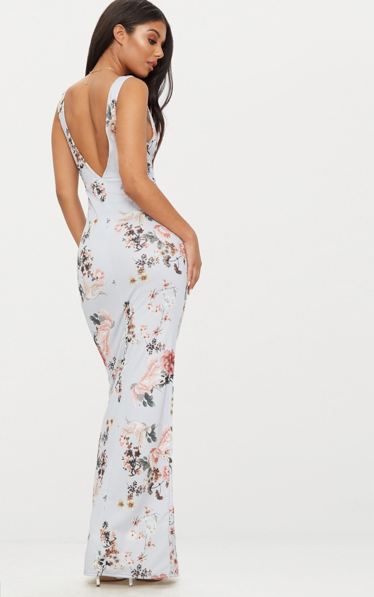 Grey Floral Print Low Back Maxi Dress 2