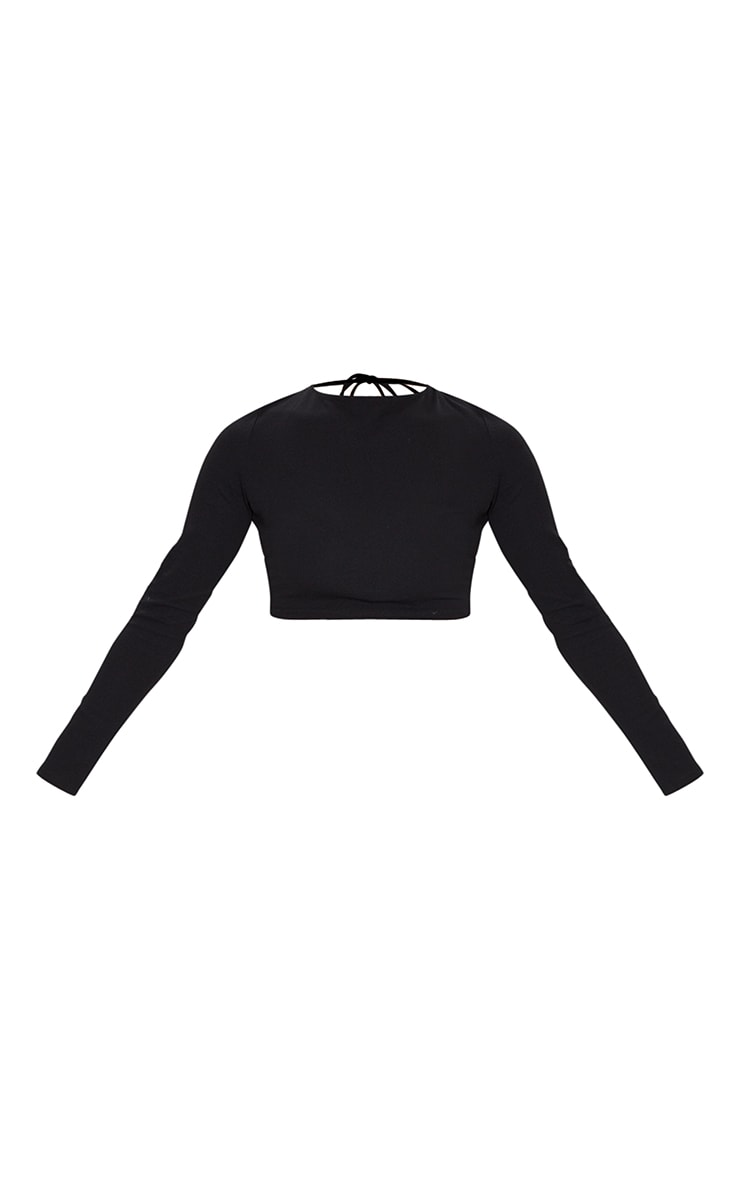 Black Crepe Backless Long Sleeve Crop Top 5