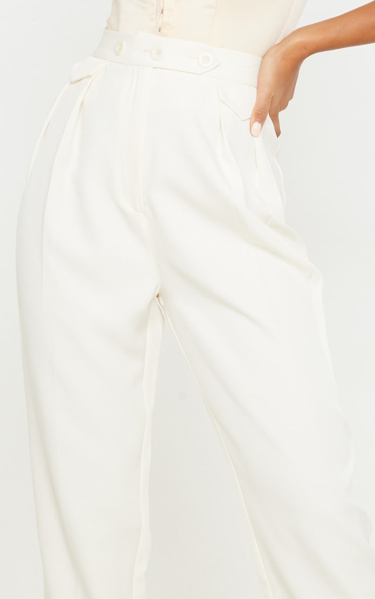 Cream Tapered Button Front Pants 5