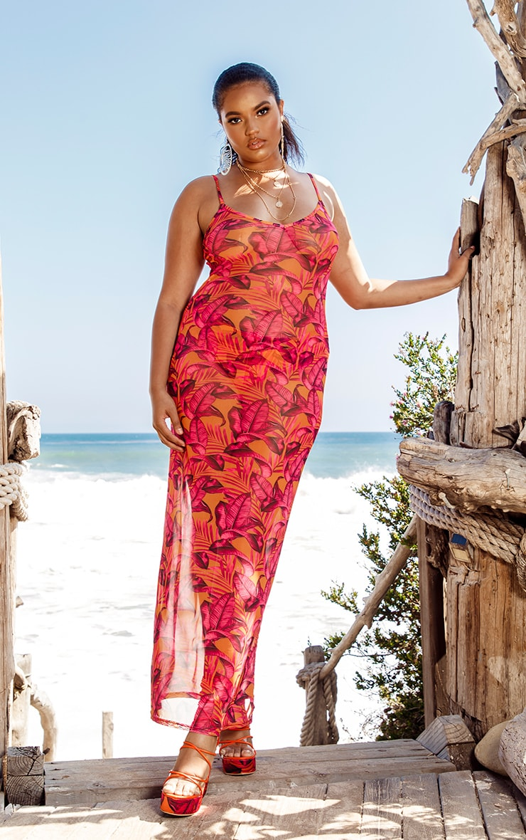 Plus Orange Palm Leaf Mesh Maxi Dress
