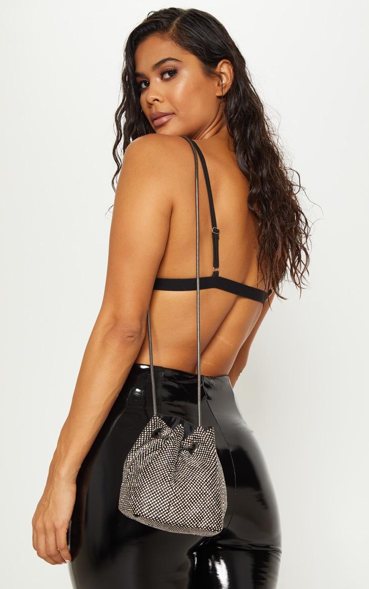 Silver Diamante Pouch Bag