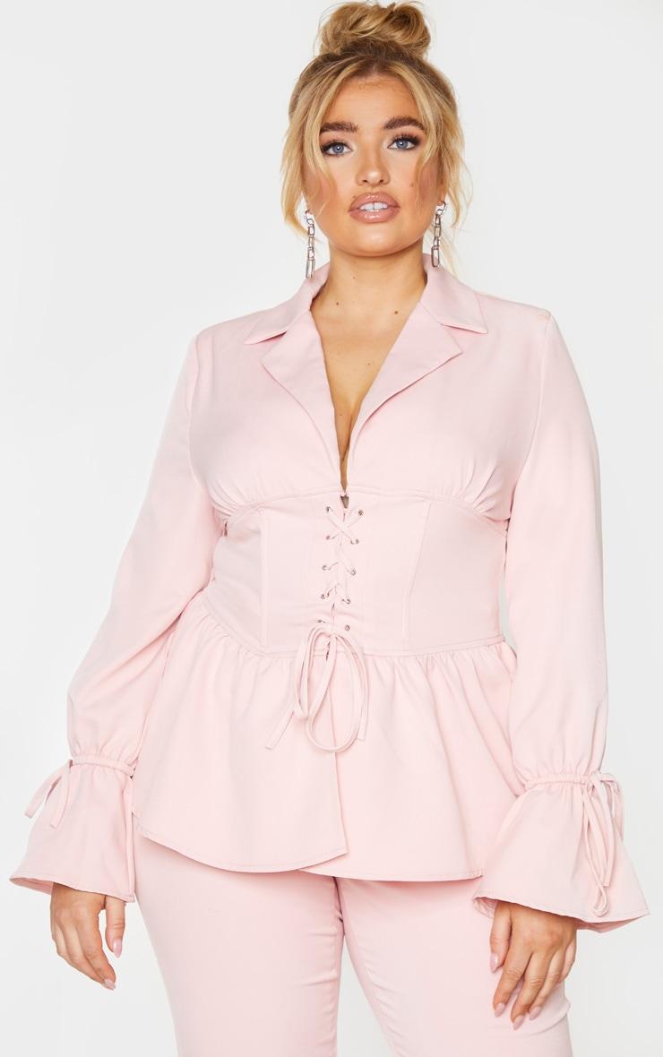 Plus Blush Corset Waist Blazer 1