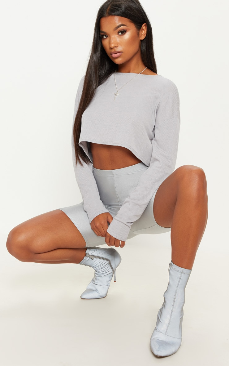 Grey Marl Long Sleeve Rib Crew Neck Top