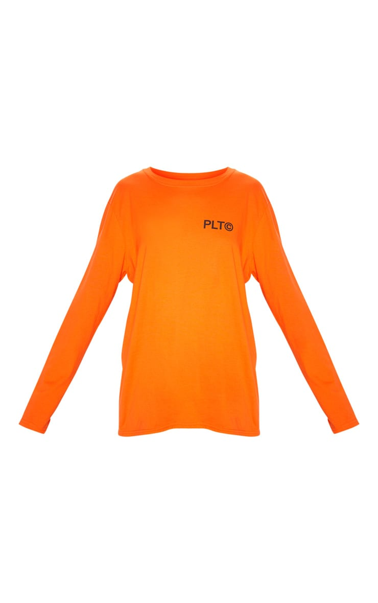 PRETTYLITTLETHING Orange Official Slogan Long Sleeve T Shirt 3