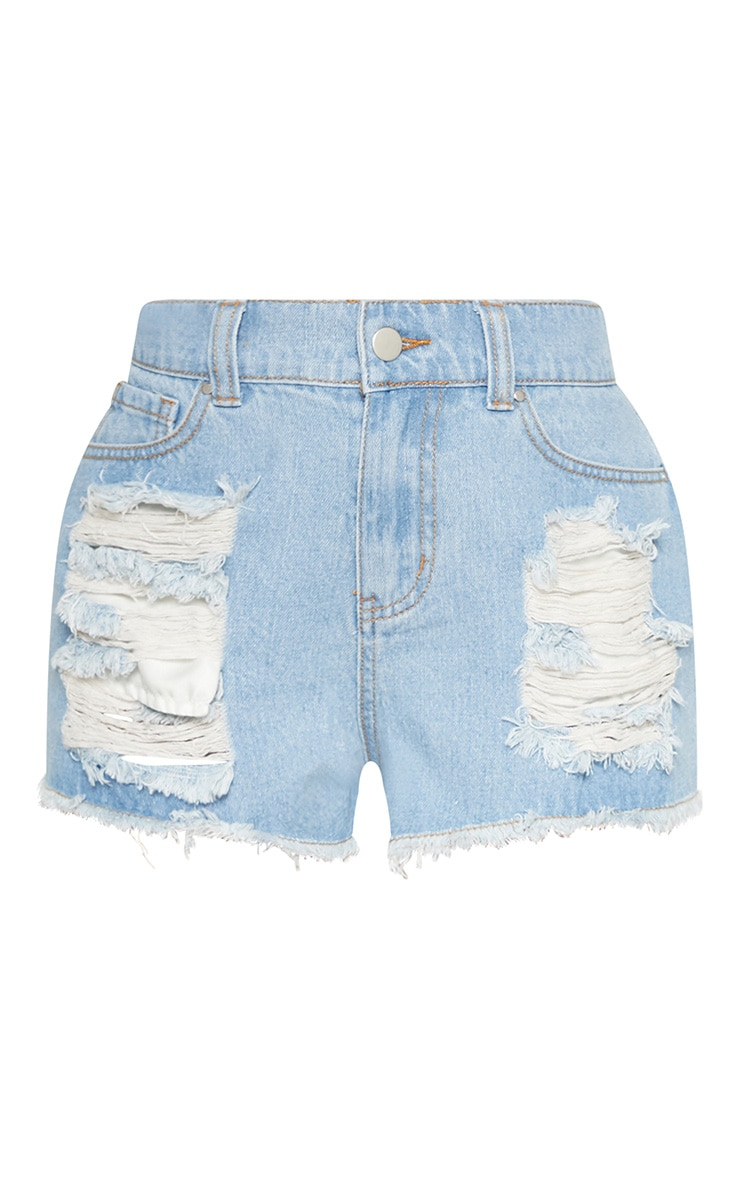 Petite Light Wash Bum Rip Denim Shorts 3