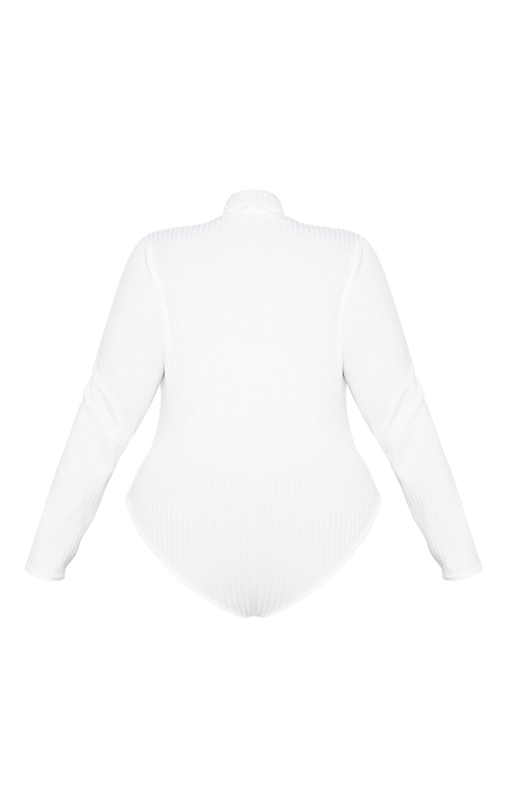 Plus Cream Rib Roll Neck Long Sleeve Bodysuit 4