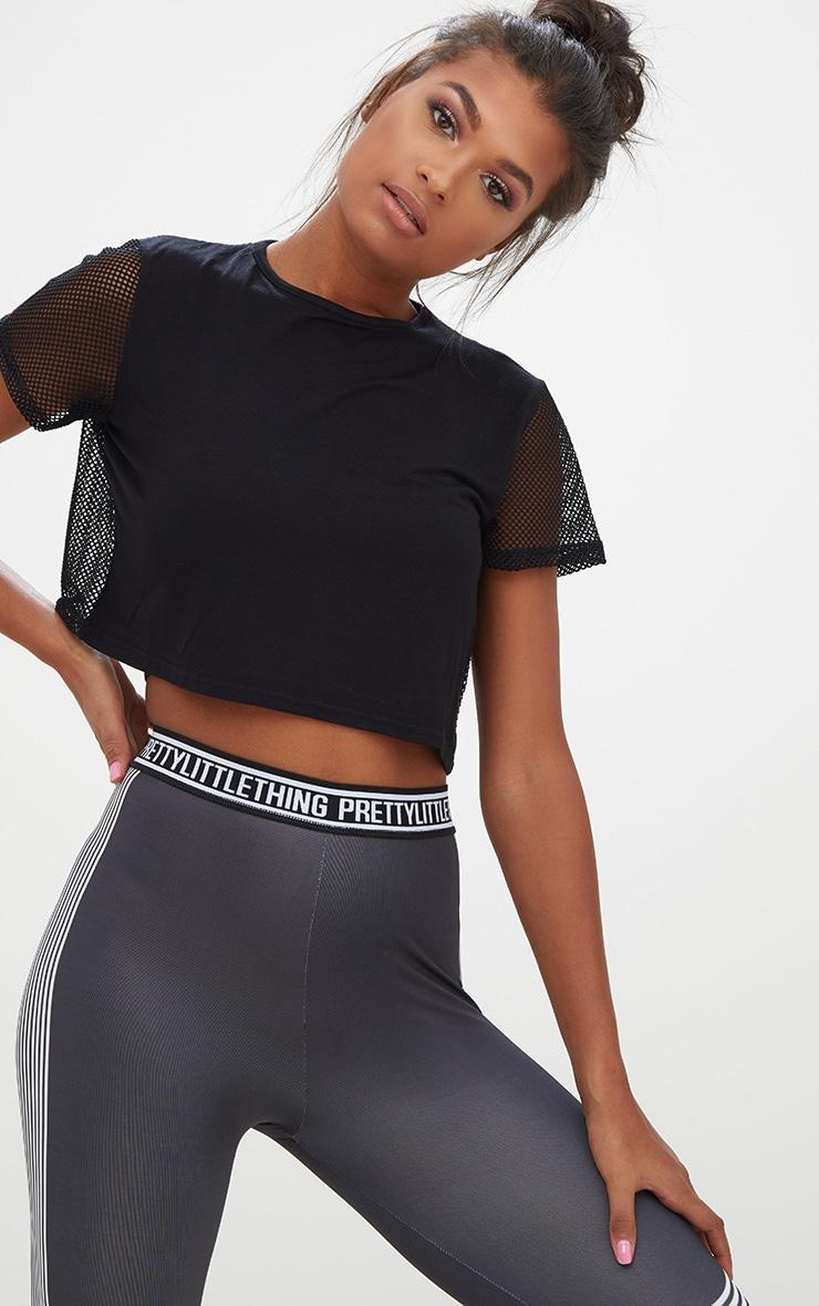 Black Fishnet & Jersey T Shirt Dress 2